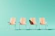 Leinwanddruck Bild - Orange chairs on pastel blue background. Summer minimal vacation concept. 3d rendering