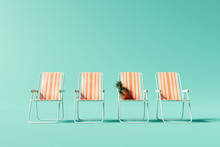 Orange Chairs On Pastel Blue Background. Summer Minimal Vacation Concept. 3d Rendering