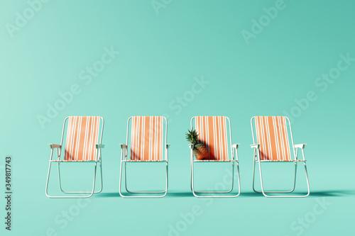 Obraz Orange chairs on pastel blue background. Summer minimal vacation concept. 3d rendering - fototapety do salonu