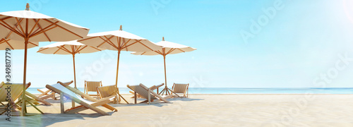 Fototapeta Summer vacation on the beach. 3d rendering obraz
