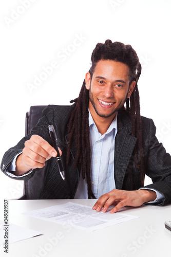 Obraz na plátně rastafari businessman working at the office