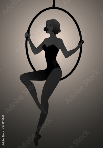 Canvastavla Backlit silhouette of woman trapeze artist sitting on a hoop suspended in the ai