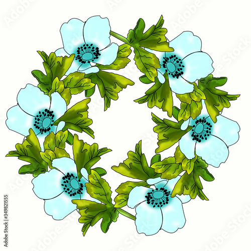 Fototapety, obrazy: Creative composition with spring flowers and leaves. A wreath of anemones. Pattern for printing. Abstraction.