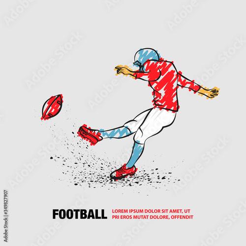 American football kicker hits the ball Fototapeta