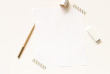 Directly Above Shot Of Writing Instruments On Desk
