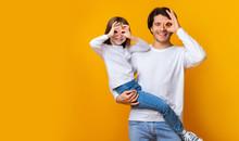 Joyful Dad And Daughter Having...