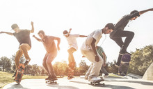 Friends Skateboarding At Park ...