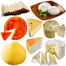 Collection Of Cheeses Isolated...