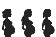 Silhouette Of A Pregnant Woman...