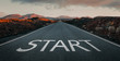Start text on the empty endless road, business concept with copy space