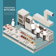 Professional Kitchen Isometric Composition