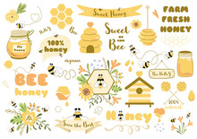 Bees Set Honey Clipart Hand Dr...