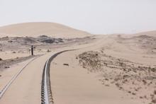 Abandoned And Forgotten Railway Being Taken Over By Encroaching Sandstorm, Kolmanskop Ghost Town, Namib Desert. Africa
