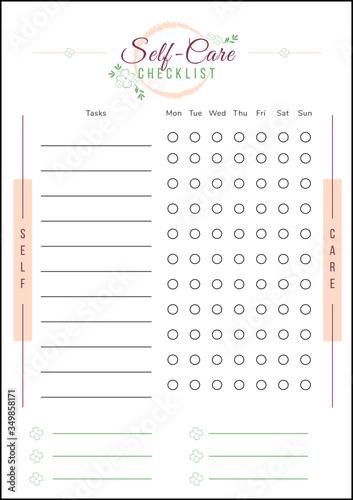 Self care checklist minimalist planner page design Canvas Print