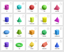 Realistic 3d Geometric Shapes. Basic Geometry Prism, Cube, Cylinder Figures, Geometric Polygon And Hexagon Shapes Vector Illustration Icons Set. 3d Cube Shape Geometric Form