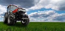 Red Tractor On A Agricultural ...