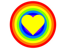 Yellow Love Heart In A Rainbow Pattern Vector
