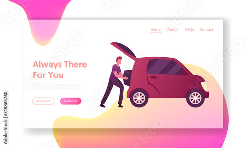 Fototapeta Traveling, Trip Landing Page Template. Male Character Put Luggage into Auto Trunk. Man Use Car Sharing Service for Transportation in City. Taxi Automobile Rental and Share. Cartoon Vector Illustration obraz