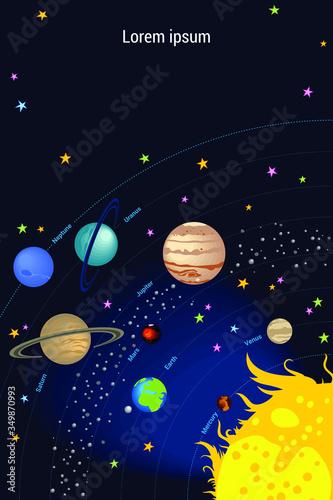 Set of vector cartoon planets of solar system: Venus, Mercury, Earth, Mars, Jupiter, Saturn, Uranus, Neptune Canvas Print