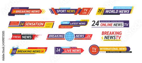 Photo TV title news bar logos, news feeds, television, radio channels