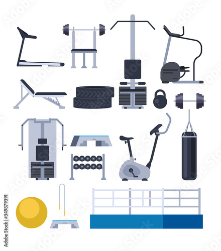 Gym training apparatus equipment isolated set Wallpaper Mural