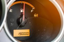 Close-up Of Fuel Gauge In Car