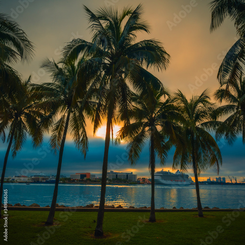 sunrise cloudy clouds sea ocean beach palms tropical prints boat miami florida sunset tree sky island landscape summer tourism vacation nature silhouette eden grass green blue gray coconut beautiful