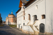 """MOSCOW, RUSSIA - FEBRUARY 22, 2020: Landscaping Park Zaryadye, Varvarka Street. The Museum """"Old English Court"""""""