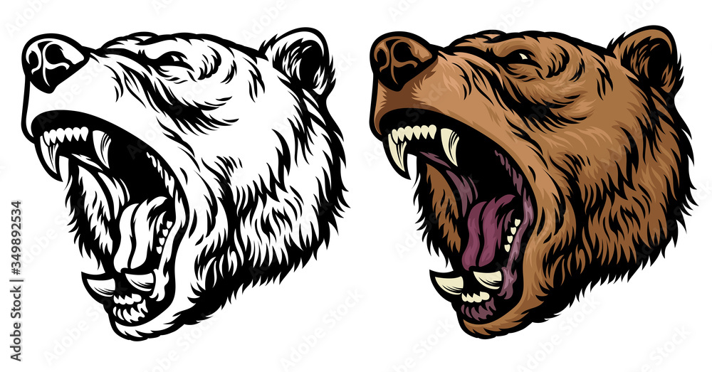 Fototapeta anggry roaring grizzly bear head