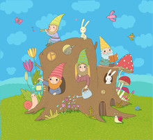 Cute Cartoon Gnomes In A Stump...