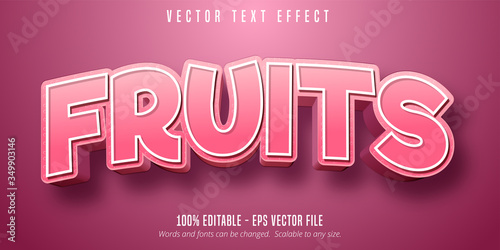 Photo Fruits text, 3d pastry style editable font effect