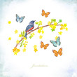 invitation card. pretty bird sitting on blossom wild currant bush with yellow little flowers surrounded happy flying butterflies. watercolor painting