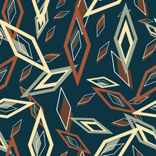 Chaos Blue Green And Yellow Diamonds On Dark Blue Background Seamless Vector Repeat Surface Pattern Design