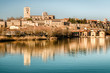 Overview of the Castle and Cathedral of Zamora, from the Duero River.