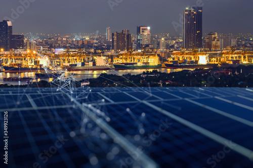 Obraz na plátně Smart Logistic port and renewable Energy Digitalization concept