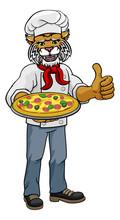 A Wildcat Chef Mascot Cartoon ...