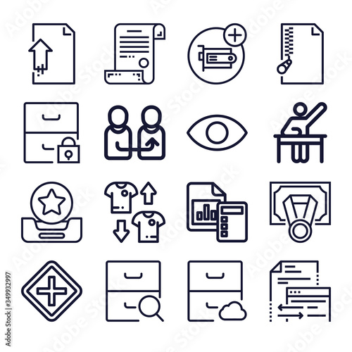 Set of 16 ambiguity lineal icons Wallpaper Mural
