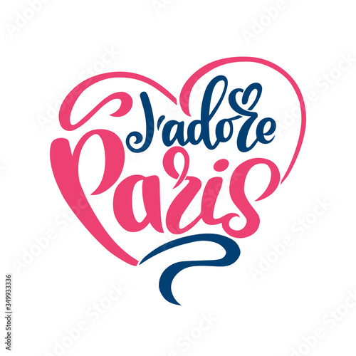 je adore Paris french phrase calligraphy handwriting paris I love you handwritten text isolated on white background, vector Canvas Print