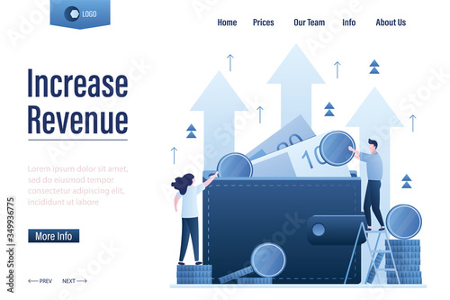 Fototapeta Increase revenue landing page template. Wallet full of money. High interest rate. Growing quotes, raise capital, obraz