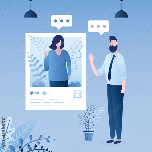 Acquaintance and communication through social networks Wallpaper Mural