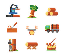 Sawmill Icon Set. Tractor Fall...