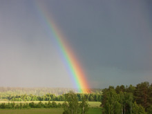 Rainbow Over Forest Panoramic View Cloudy Landscape