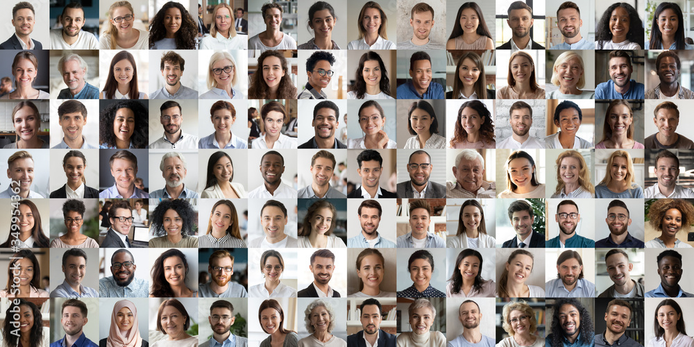 Fototapeta Collage mosaic of many multiracial people of different age and ethnicity faces headshots close up portraits. Lot of happy mixed multicultural diverse business people group photo collection concept.