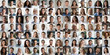 canvas print picture - Collage mosaic of many multiracial people of different age and ethnicity faces headshots close up portraits. Lot of happy mixed multicultural diverse business people group photo collection concept.