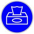 canvas print picture - shas628 SignHealthAndSafety shas - Gebotszeichen: Papiertaschentücher benutzen - english / mandatory sign: use paper tissues / box with disposable paper handkerchiefs. xxl blue g9642