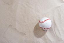 Baseball On Sand At Beach. Team Sport Concept