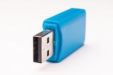Blue Usb Flash Memory Stick, Selective Focus