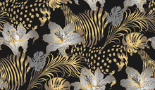 Pattern Of Lily And Animal Texture. Vector Illustration. Suitable For Fabric, Mural, Wrapping Paper And The Like
