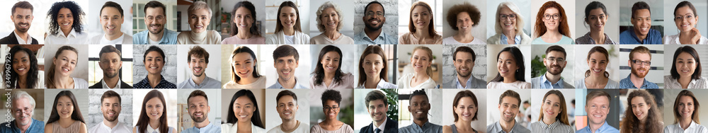 Fototapeta Many smiling multiethnic people faces headshots collage mosaic. Lot of young and old adult diverse ethnicity professional people group looking at camera. Horizontal banner for website header design