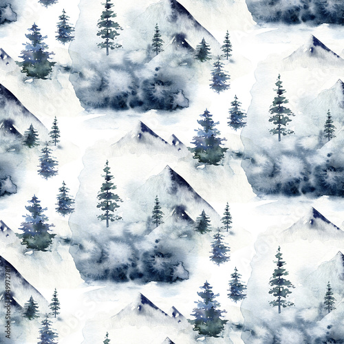 Obraz Watercolor winter forest seamless pattern. Christmas tree landscape with Pine Trees fir in the Mountains. Hand painted blue Background. Snow holiday design paper - fototapety do salonu